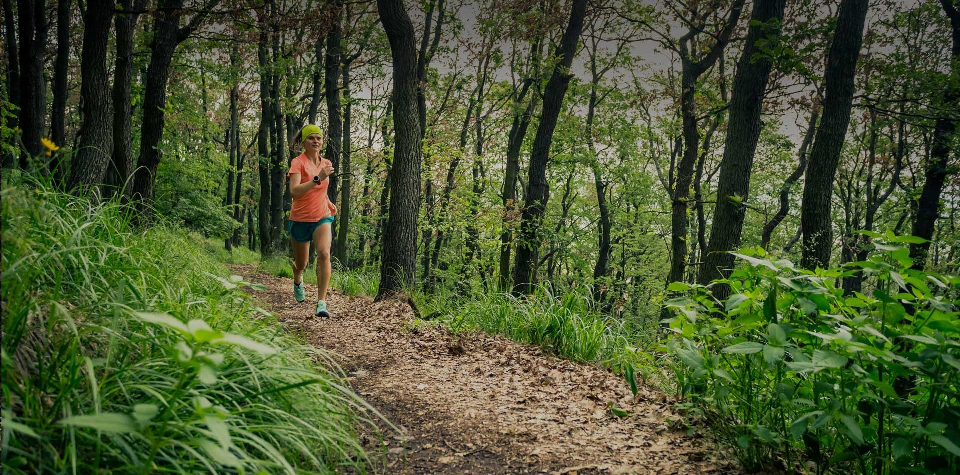 woman trail running in chilliwack
